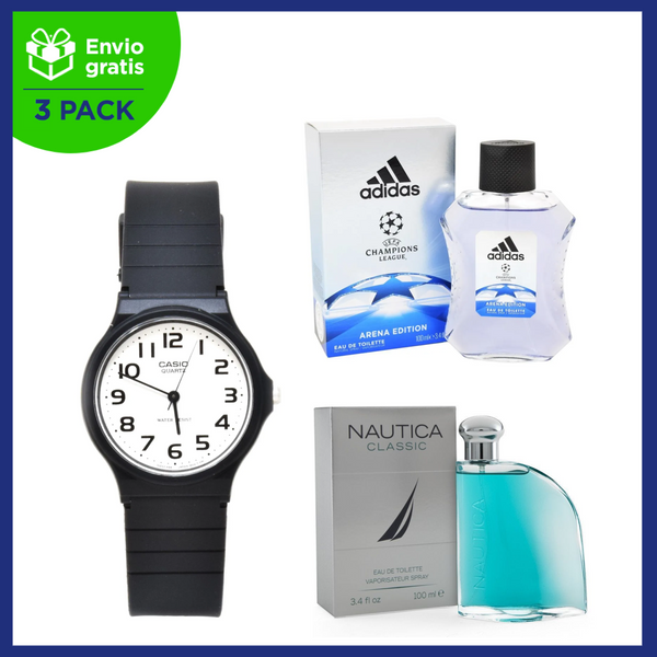 Pack Tira Rostro: Adidas Champions League Arena Edition 100 ml EDT Spray, Nautica Classic 100 ml EDT Spray y Reloj Casio para Caballero