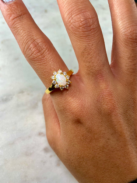 Hana White Opal Gold Ring - Size 16