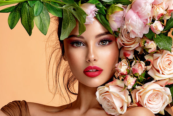 model with roses - beauty treatments