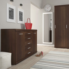 Load image into Gallery viewer, Imperial 2 Door 5 Drawer Sideboard in Dark Mahogany Melamine