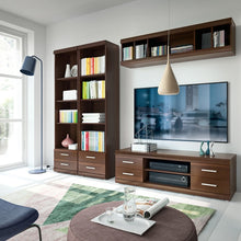 Load image into Gallery viewer, Imperial Tall 2 Drawer Narrow Cabinet with Open Shelving in Dark Mahogany Melamine