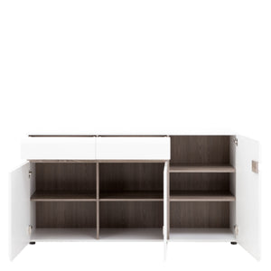 Chelsea Living 2 drawer 3 door sideboard in white with an Truffle Oak Trim