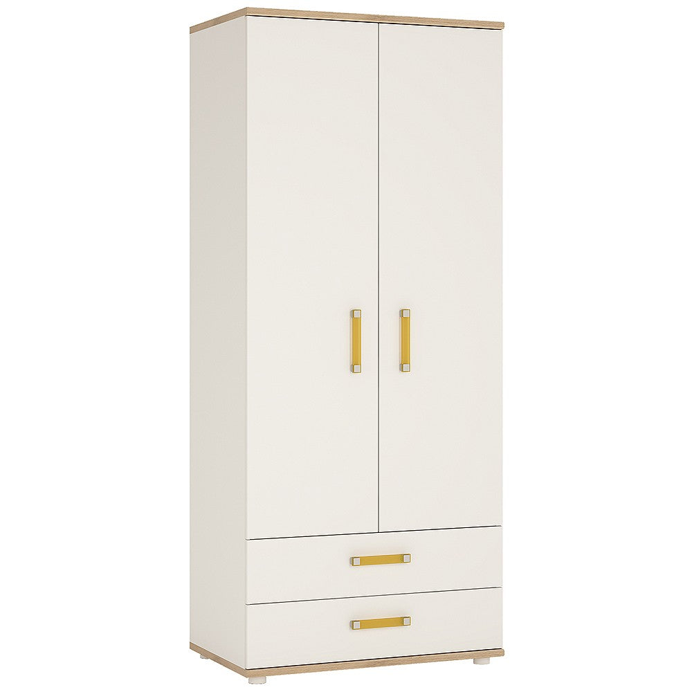 4KIDS 2 door 2 drawer wardrobe with orange handles