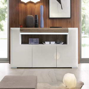 Toronto 3 Door Sideboard with open shelving (inc. Plexi Lighting)