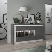 Load image into Gallery viewer, Lyon 2 door designer cabinet (LH) in Platinum/Light Grey Gloss