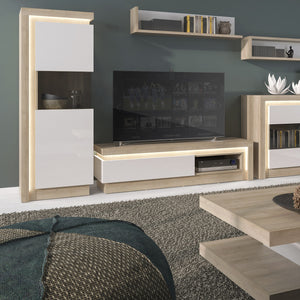 Lyon Tall narrow display cabinet (LHD) in Riviera Oak/White High Gloss