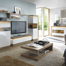 Load image into Gallery viewer, Lyon Designer coffee table in Riviera Oak/White High Gloss