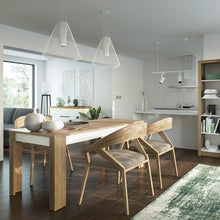 Load image into Gallery viewer, Lyon Medium extending dining table 140/180 cm in Riviera Oak/White High Gloss
