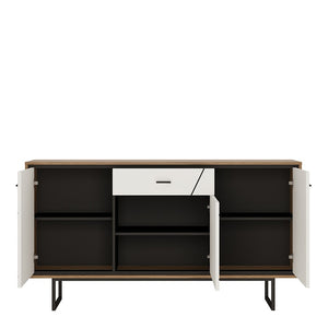 Brolo 3 door 1 drawer sideboard With the walnut and dark panel finish