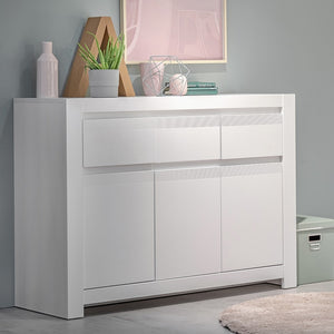 Novi 3 Door 3 Drawer Cabinet in Alpine White