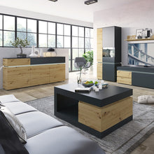 Load image into Gallery viewer, Luci 3 door 2 drawer sideboard (including LED lighting) in Platinum and Oak