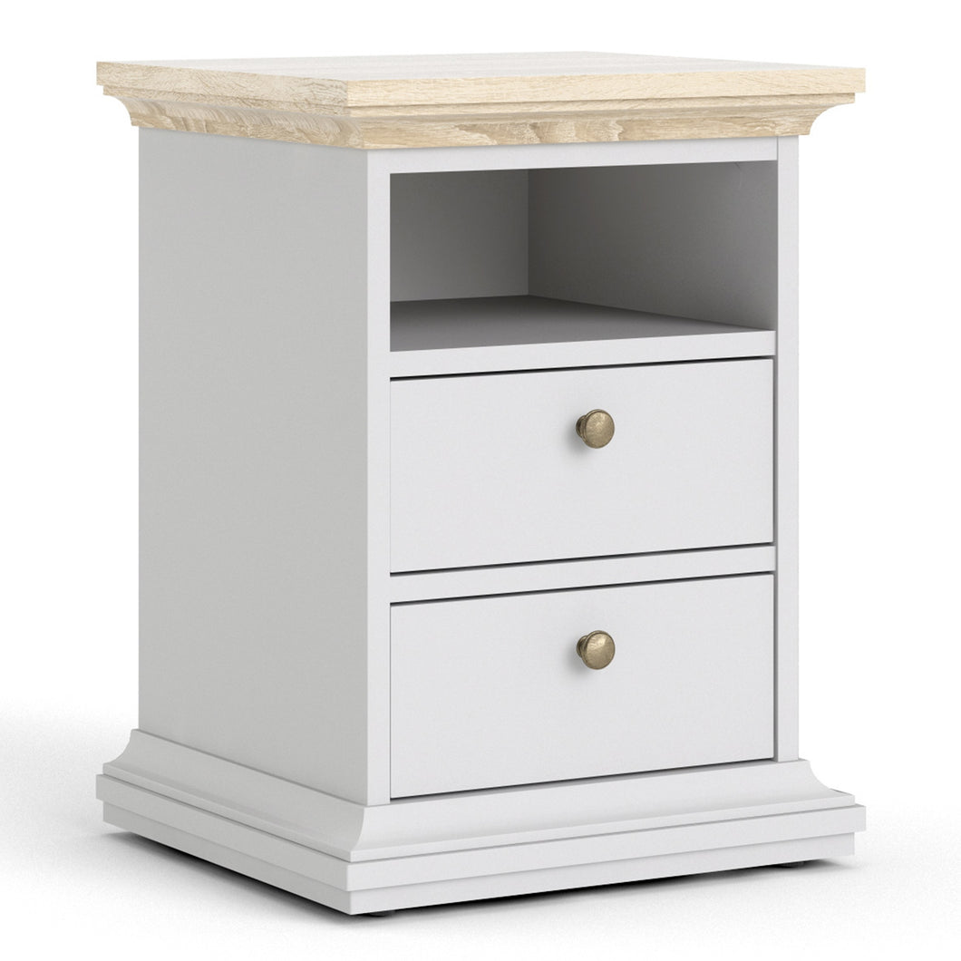 Paris Bedside 2 Drawers in White and Oak