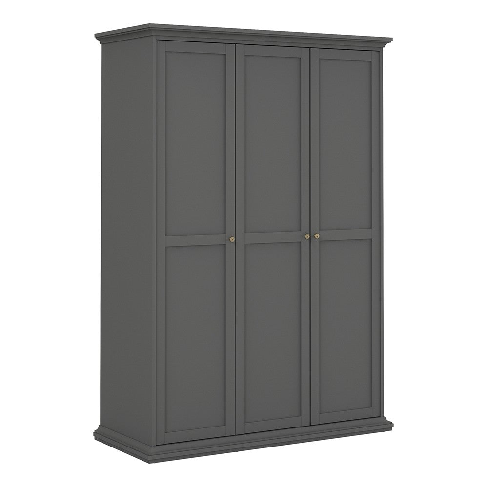 Paris Wardrobe with 3 Doors in Matt Grey