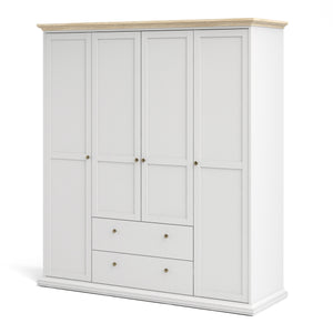 Paris Wardrobe with 4 Doors & 2 Drawers in White and Oak
