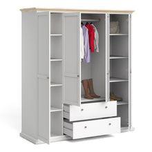 Load image into Gallery viewer, Paris Wardrobe with 4 Doors & 2 Drawers in White and Oak