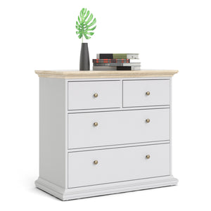 Paris Chest of 4 Drawers in White and Oak