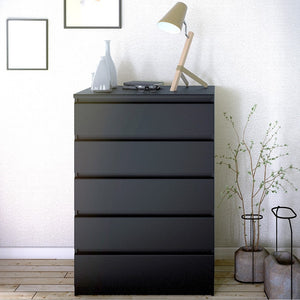 Naia Chest of 5 Drawers in Black Matt