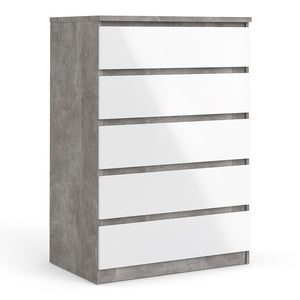Naia Chest of 5 Drawers in Concrete and White High Gloss