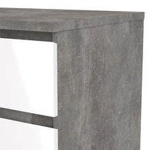 Load image into Gallery viewer, Naia Narrow Chest of 5 Drawers in Concrete and White High Gloss