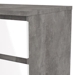 Naia Narrow Chest of 5 Drawers in Concrete and White High Gloss