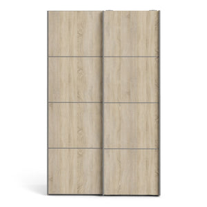 Verona Sliding Wardrobe 120cm in White with Oak Doors with 2 Shelves