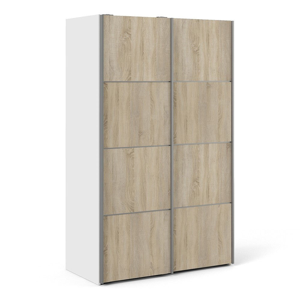 Verona Sliding Wardrobe 120cm in White with Oak Doors with 5 Shelves