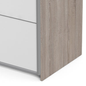Verona Sliding Wardrobe 120cm in Truffle Oak with White Doors with 5 Shelves