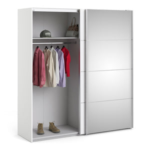 Verona Sliding Wardrobe 180cm in White with White and Mirror Doors with 2 Shelves