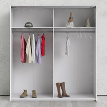 Load image into Gallery viewer, Verona Sliding Wardrobe 180cm in White with White and Mirror Doors with 2 Shelves