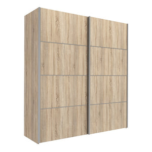 Verona Sliding Wardrobe 180cm in Oak with Oak Doors with 2 Shelves