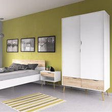 Load image into Gallery viewer, Oslo Wardrobe 2 Doors 2 Drawers in White and Oak