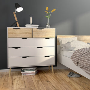Oslo Chest of 5 Drawers (2+3) in White and Oak