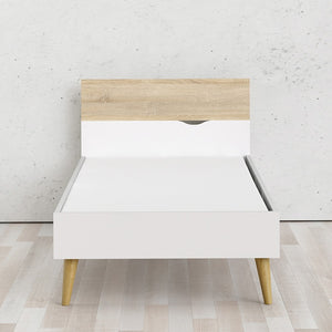 Oslo Euro Single Bed (90 x 200) in White and Oak