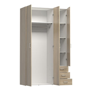 Space Wardrobe - 3 Doors 3 Drawers in Oak