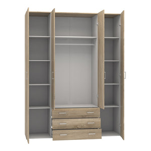 Space Wardrobe - 4 Doors 3 Drawers in Oak