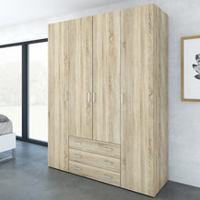 Load image into Gallery viewer, Space Wardrobe - 4 Doors 3 Drawers in Oak