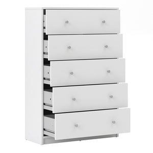 May Chest of 5 Drawers in White