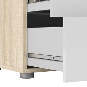 Pepe Wide Chest of 8 Drawers (4+4) in Oak with White High Gloss