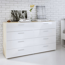 Load image into Gallery viewer, Pepe Wide Chest of 8 Drawers (4+4) in Oak with White High Gloss