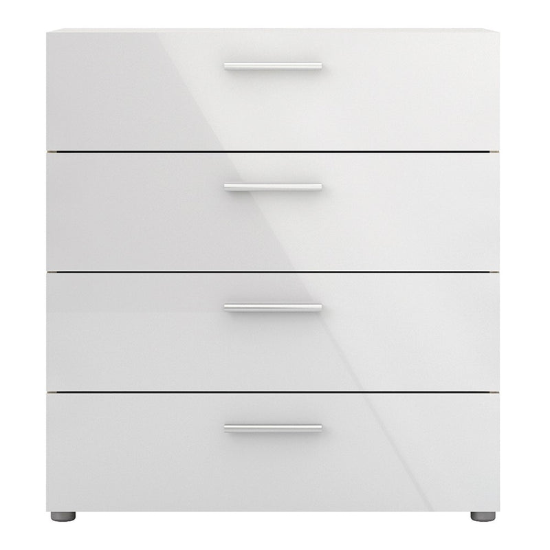Pepe Chest of 4 Drawers in Oak with White High Gloss