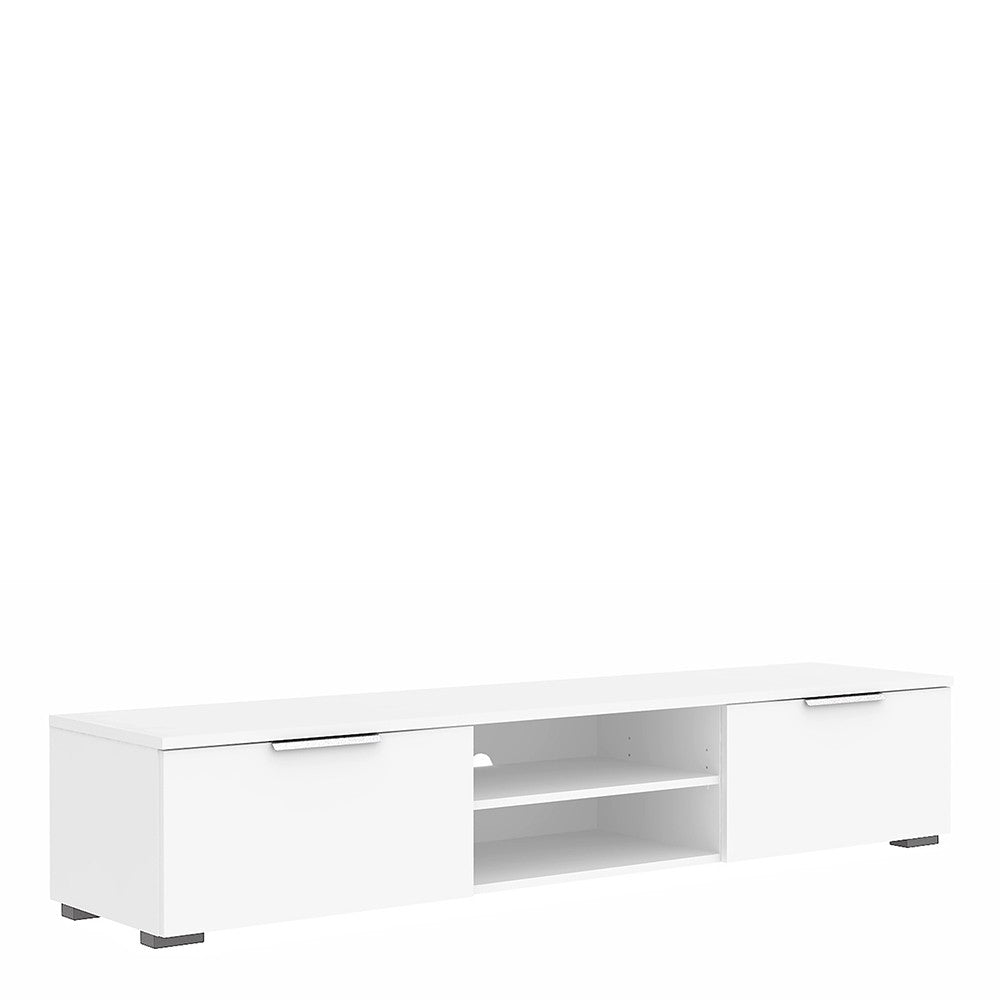 Match TV Unit 2 Drawers 2 Shelf in White High Gloss