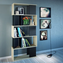 Load image into Gallery viewer, Maze Open Bookcase 4 Shelves in Oak and Black