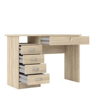 Function Plus Desk 5 Drawers in Oak