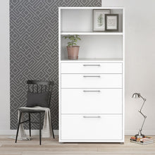 Load image into Gallery viewer, Prima Bookcase 4 Shelves with 2 Drawers + 2 File Drawers in White
