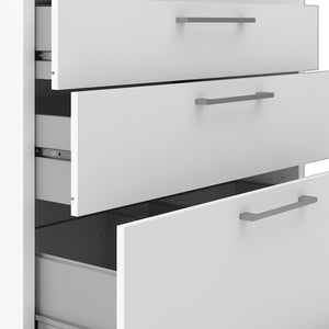 Prima Bookcase 4 Shelves with 2 Drawers + 2 File Drawers in White