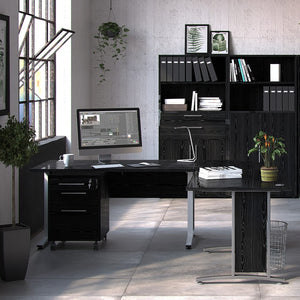 Prima Bookcase 4 Shelves with 2 Drawers + 2 File Drawers in Black woodgrain