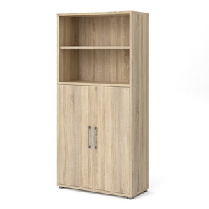 Prima Bookcase 4 Shelves with 2 Doors in Oak
