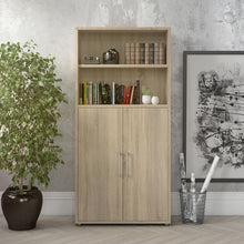 Load image into Gallery viewer, Prima Bookcase 4 Shelves with 2 Doors in Oak