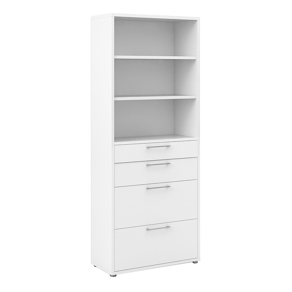 Prima Bookcase 5 Shelves with 2 Drawers + 2 File Drawers in White