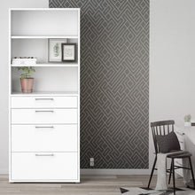 Load image into Gallery viewer, Prima Bookcase 5 Shelves with 2 Drawers + 2 File Drawers in White